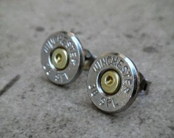 Stud Earring, Winchester 38 Special Bullet Earring, Two Tone Nickel/Brass Stud Earrings , Surgical Steel, Sterling Silver Post - 4410