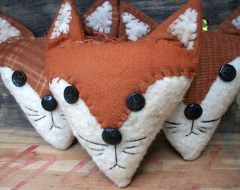 Primitive Red Fox raggedy rustic animal bowl fillers set of three