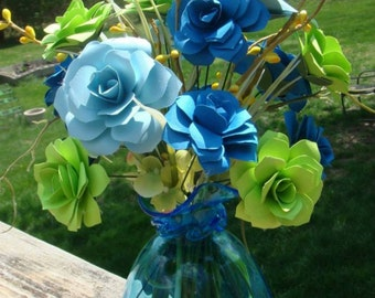 Paper Flower Arrangement in your choice of colors 6 to 8 inches tall