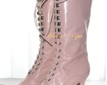 Victorian Boots in Light Pink leather victorian Shoes in Blush Powder Pink Shoes in Light Pink leather Lace up shoes