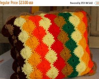 ON SALE Retro Pillow, Vintage Handmade Crocheted Throw Pillow, Home Decor, Granny Square, Boho Home Accessory,