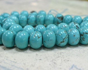35pcs 16x12mm Rondelle Green Magnesite Natural Gemstone Beads 15 Inches Strand