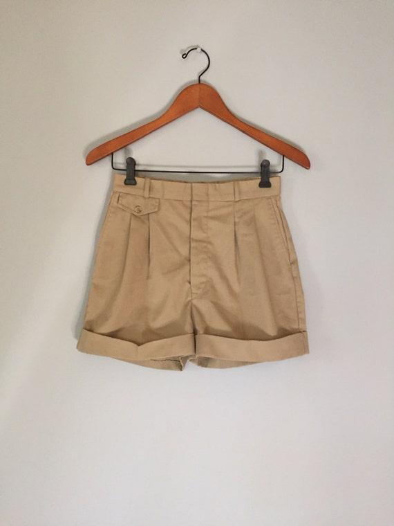 90s khaki shorts | cuffed mini shorts