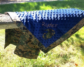 Custom Military Camo Baby blankets with MINKY! Personalized free! Usmc/army, ect!