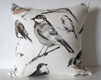 Ethan Allen tweety charcoal birdwatcher gray taupe  decorative pillow cover