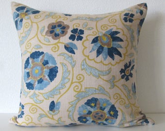 Jaclyn Smith Suzani Blue Citrus Yellow decorative pillow cover