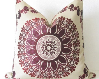 Flower Circle Magenta medallion designer decorative pillow cover