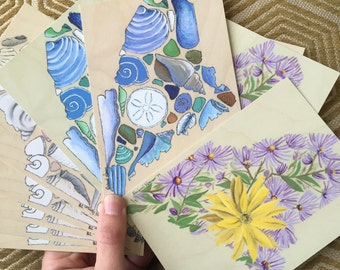 Pack of Ten Maine Postcards: Seashells and Wildflowers
