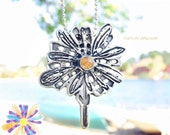 Daisy Pendant Handmade in Recycled Sterling Silver--Yellow Cabochon-- Xmas Gifts for Mom