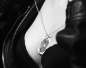 Sterling Silver Kiss Print Dog Tag for Long Distance Couples--Actual Handwriting on Back