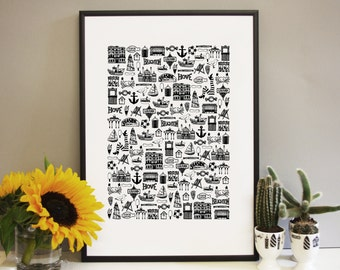 Brighton Print - Brighton gifts - Brighton and Hove art - Brighton illustration - Brighton wedding gift