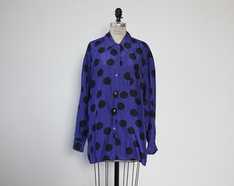 Vintage SILK Violet with Black Polka Dot Oversized button Down Blouse Shirt 80s M-L