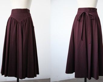 Vintage Plum Apron Skirt High Waist Bow at Back Midi Length Full S