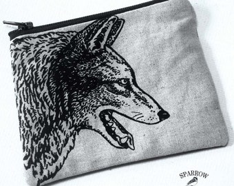 Nature Lover, Small  Coin Pouch, Wolf Change Purse, Original Wolf Print, Zipper Coin Purse