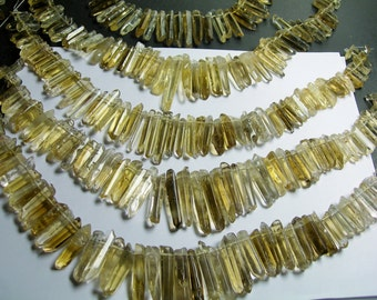 Quartz crystal points top drilled 55 pcs mix size - full strand - lemon quartz - PSC208