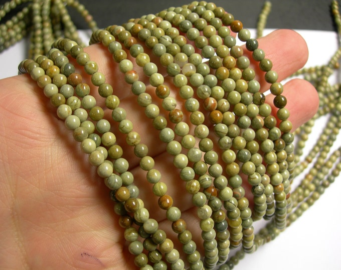 Silver mist Jasper - 4 mm round beads -1 full strand - 97 beads - A quality - RFG498