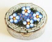 Micro Mosaic Pill Box... c.1960s Italian... Blue Forget-Me-Not