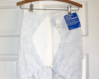 40% OFF SALE 1960s White Girdle . Vintage 60s 70s Latex JC Penney Adonna Stretch Shapewear Girdle with Garters . Size Extra Small