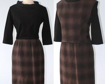 Vintage 1960s Black Brown Plaid Dress . 60s Black Cowl Neck Bodice Matching Plaid Top . GAY GIBSON . Jackie O . Sz Small Medium
