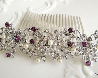 Bridal Hair Comb,Pearl Bridal Hair Comb,Ivory or White Pearls,Rhinestone Hair Comb,Rhinestone Bridal Hair Comb,Purple Hair Comb,Pearl,MARLEY