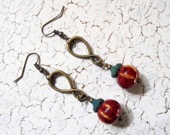 Red Pumpkin Infinity Earrings (3053)