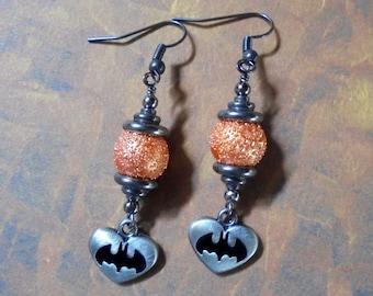 Orange, Silver and Black Batman Heart Earrings (3084)