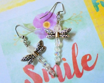 Crystal and Silver Dragonfly Earrings (2688)