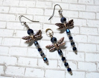 Blue and Silver Dragonfly Pendant and Earrings (2691)