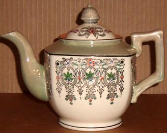 Vintage Moriage Art Deco Porcelain Ceramic Teapot Hand Painted Moriage Teapot Made in Japan Tea Pot