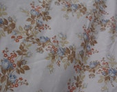 Lady Pepperell vintage twin flat sheet 66 x 96 cream background roses in blues and white other flowers in burnt orange brown gold leaves