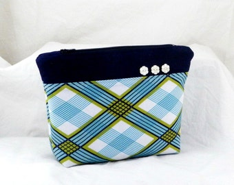 Make Up Bag, Plaid in Pond, Joel Dewberry, Modern Meadow, White and Blue, Cosmetic Bag, Clutch Purse