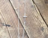 Sterling Silver Skinny Sideways Cross Necklace Celebrity Style Best Seller