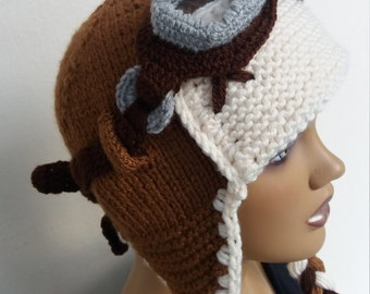 Knit Aviator Hat Set with Goggles-tan and beige-Aviator Inspired Hat,Knit Earflap Hat,The Aquila Hat