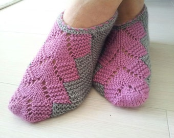 Beautiful Hand knit women house slipper-Adult size Winter Home Slippers