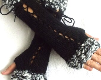 Handknitted Fingerless Gloves Corset Wrist Warmers  in Black and White Victorian Style