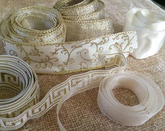 """Ribbon grab bag, assortment of golds & creams ribbon remnants, mixed includes wired ribbons, 1/2"""" to 1 1/2"""" width"""