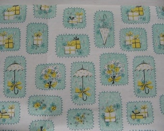 Vintage Bridal Shower Gift Wrap 1950's Wedding Wrapping Paper 2 Sheets, Umbrella Raindrops Gifts Flowers Blue Green White Yellow Black