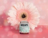 Toy Car Still Life Photography - Turquoise VW Bus and Pink Gerber -  Volkswagen VW Bus pink aqua floral midcentury modern nursery decor
