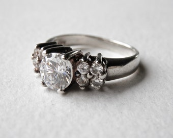 Wedding Ring, Engagement Ring, Round CZ Multi Stone Ring, Sterling Silver, Size 6 Ring