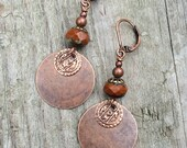 Burnt Orange and Copper Lever Back Earrings