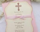 Girl Baptism Invitations Cross Invites Christening First Communion Pink Invite