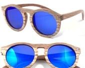 1960's round handmade sunglasses skateboard wood glasses