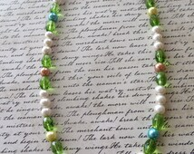 Springtime Glass Pearl and Crystal Beaded Necklace