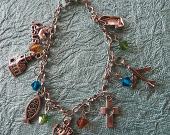 Global Missions Themed Silver Charm And Crystal Bracelet