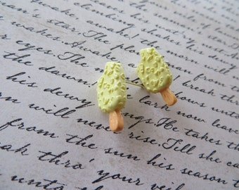 Ivory Resin Ice Cream Bar Post Earrings