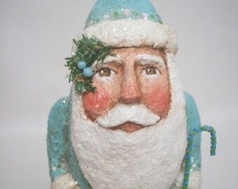 Paper Mache Folk Art Blue Santa