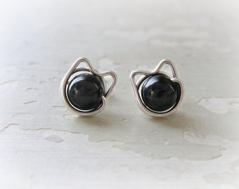 Black Cat Studs, Pet Lover Gift, Kitty Stud Earrings, Black Onyx Studs, Cat Jewelry, Kitty Cat, Cat Stud Earrings, Crazy Cat Lady, Cat Lover