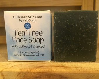 Tea Tree Activated Charcoal Bar Soap Face Soap Oily Acne Skin