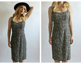 90s Cheetah Tank Dress- Cotton, Small, Burnout Leopard Grunge Strappy Tank Girl Courtney Love