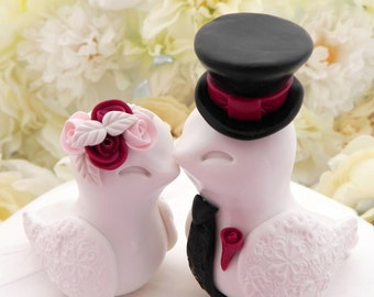 Love Birds Wedding Cake Topper, White, Pink, Black and Burgundy and Black, Bride and Groom Keepsake, Fully Customizable